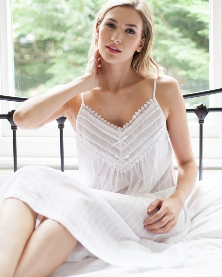 Gilla Cotton Lawn Jaquard Strappy Nightdress