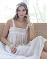 Addie Cotton Batiste Jaquard Check Nightdress