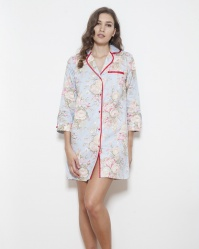 Grand Floral Cotton Twill Nightshirt