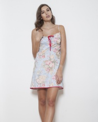 Grand Floral Cotton Twill Bandeau Chemise