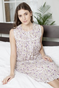 Gala  Cotton Fleur Sleeveless  Nightdress