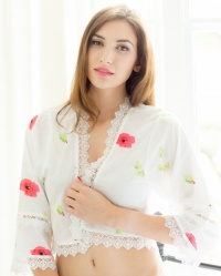 Latte Cotton Lawn Poppy Bed Jacket