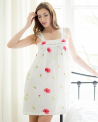 Laura Cotton Lawn Poppy Floral Wide Strappy Nightdress