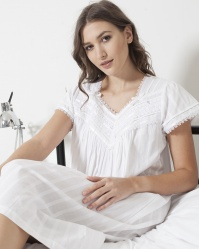 Raven Cotton Jaquard Cap Sleeve Nightdress
