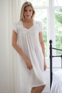 Rena 100% Cotton Batiste Cap Sleeve Nightdress