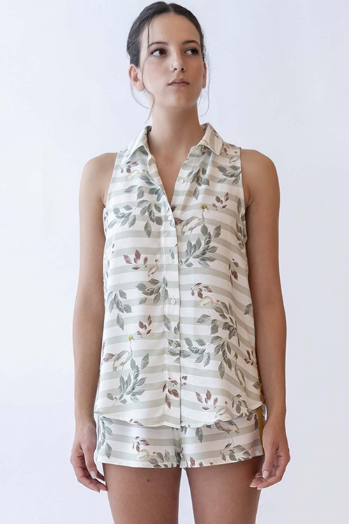100% VEGAN Crane Shortie Pyjama Set
