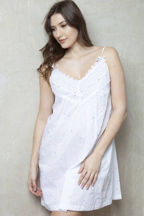 Adyn Cotton Lawn Embroidered Strappy Nightdress