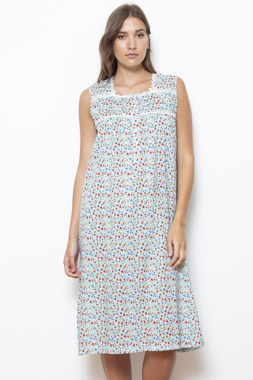Burl Cotton Lawn Fleur Sleeveless Nightdress