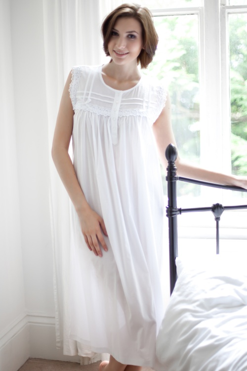 Caty Victorian Cotton Lawn Sleeveless Nightdress