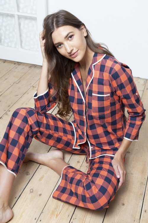 Coral -Navy Check Pyjamas