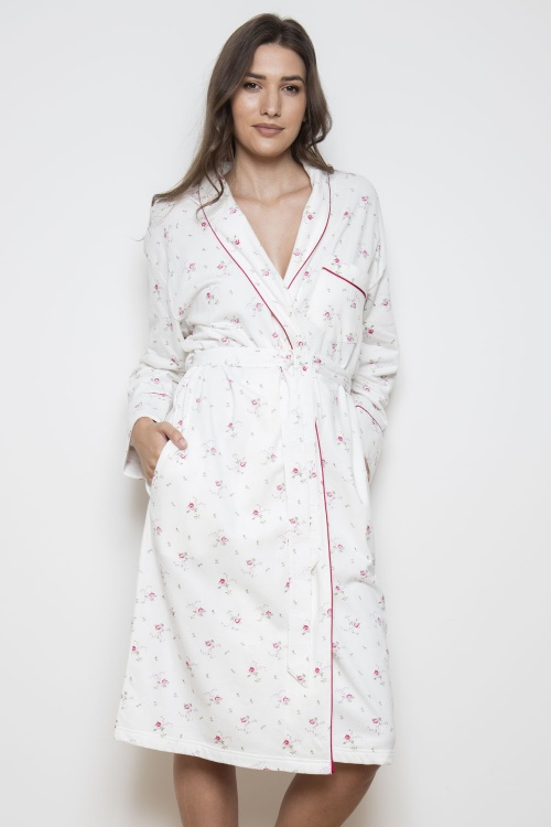 Dittsy Bouquet 100% Brushback Cotton Shawl Collar Robe