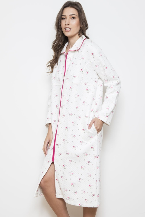Dittsy Bouquet - QUILTED 100%  Cotton Interlock Zip Robe