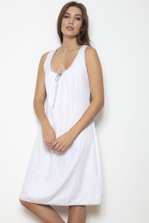 100% Cotton Superfine Shadow Stripe Nightdress