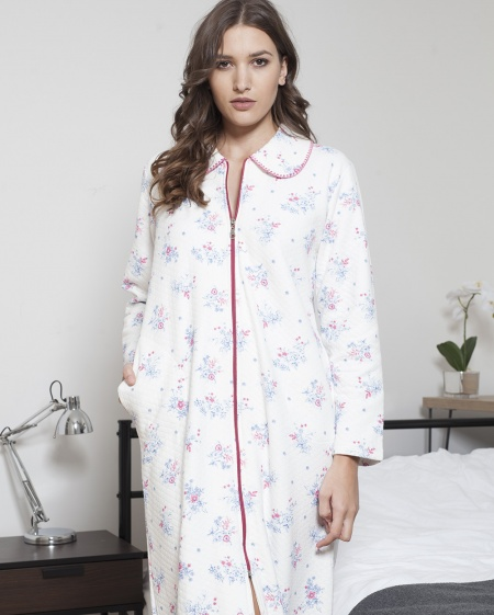 Quilted Cotton Zip Robe