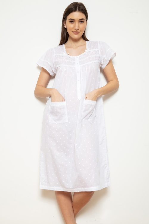 Jane  Cotton Voile Jaquard PolkaDot Cap Sleeve Nightdress