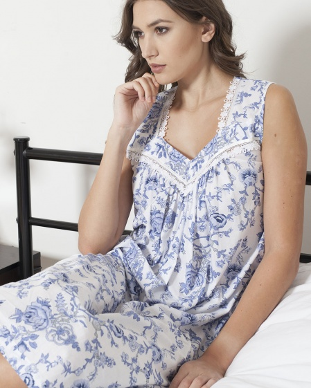Kelsey Shadow Stripe Imperial Floral Nightdress