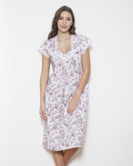 Kerry Shadow Stripe Imperial Floral Nightdress