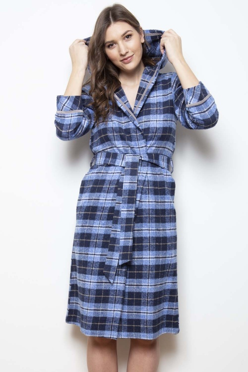 Kiev Brushed Check Hooded Robe