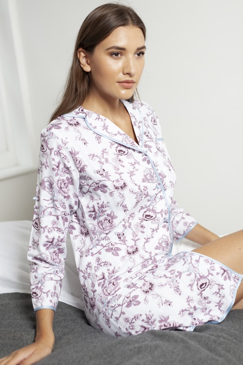 Keiray Deluxe Cotton Shadow Stripe Nightshirt
