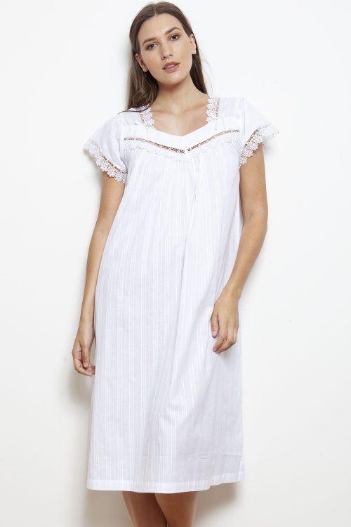Mable Cotton Lawn Jaquard Cap Sleeve Nightdress