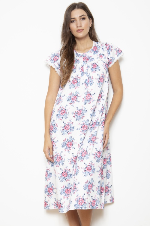 Nolas - 100% Cotton Sateen Rosebud Cap Sleeve Nightdress