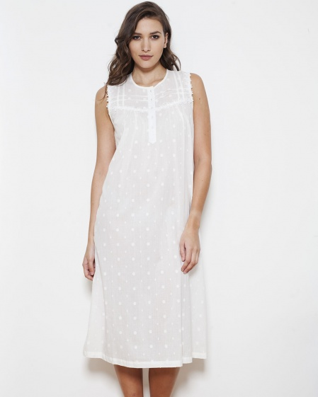 Novia Cotton PolkaDot Sleeveless Nightdress