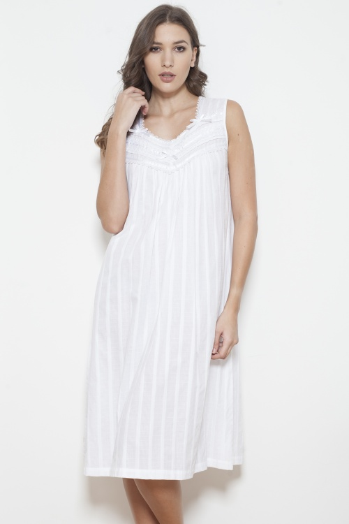 Raffa Cotton Jaquard Sleeveless Nightdress