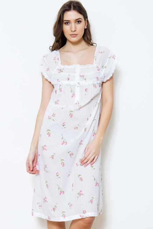Zaida Cotton Rosebud Melon Sleeve Nightdress