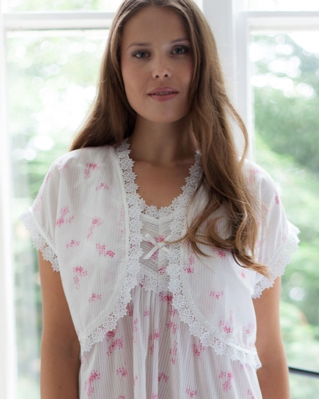 Zuzu 100% Cotton Batiste Jaquard Bolero Bed Jacket