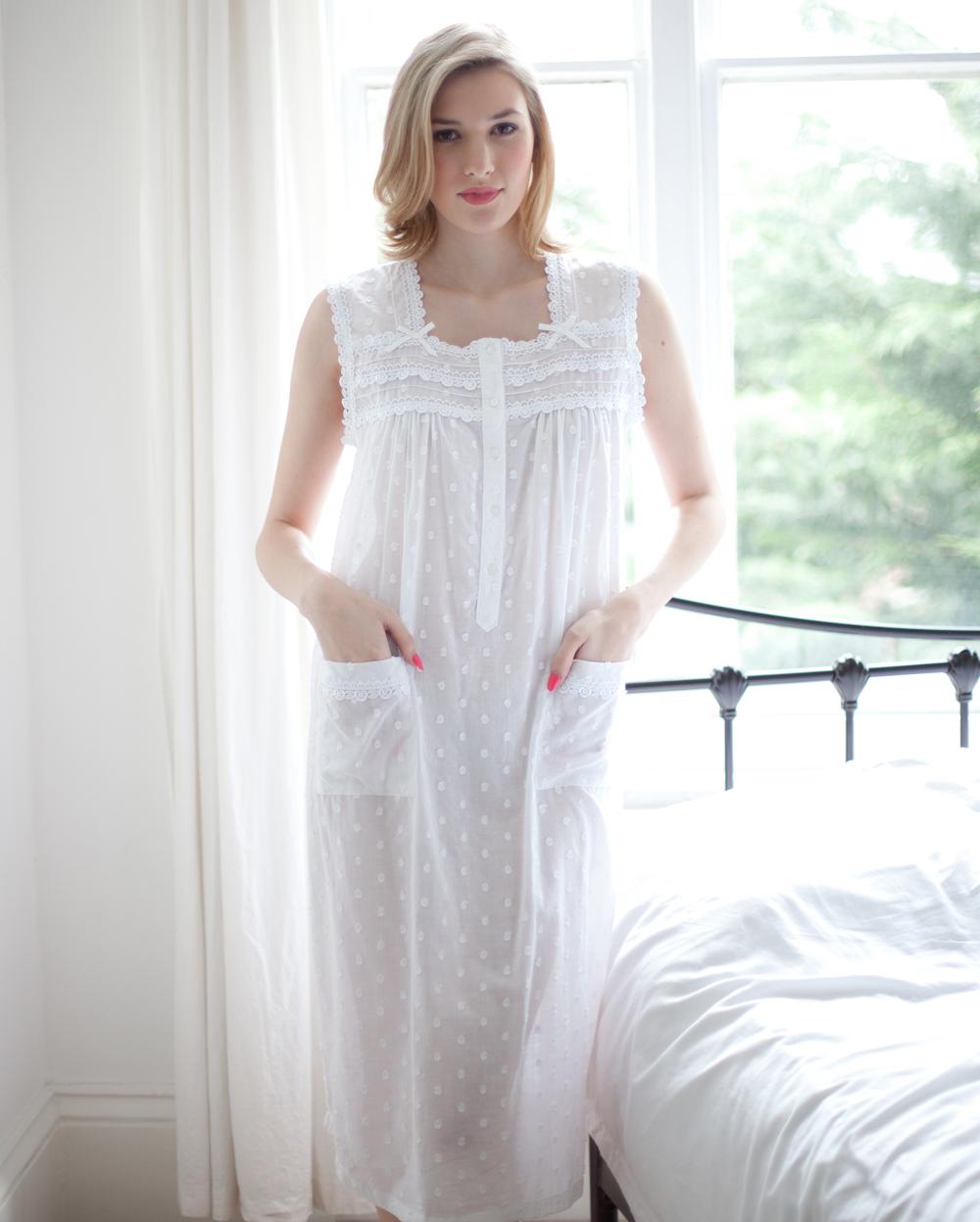 Janet Cotton Lawn Jaquard Polka Dot Sleeveless Nightdress - Cottonreal d1ba7ffc23