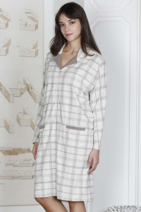 Check Button Through Nightdress-Housecoat