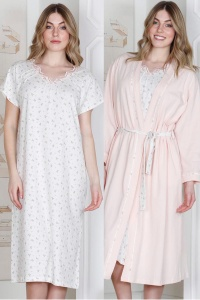 100% Cotton Flora NIGHTIE & WRAP 2pcs SET - PLUS