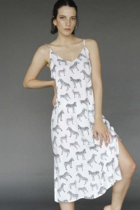 100% VEGAN Zebra Lounger-Nightdress
