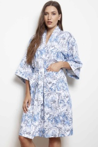 Grand Leaf Flora Cotton Sateen Kimono Wrap
