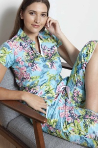 Caribe Flora Cotton Capri PJ Set