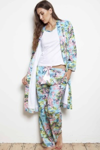 Caribe Flora Cotton Double Face Robe