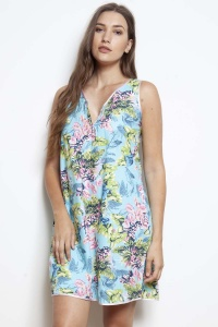 Caribe Flora Cotton Chemise - Nightdress