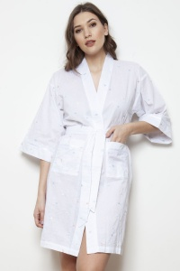 Adita Cotton Lawn Embroidered Kimono Wrap