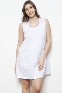 Admas Cotton Lawn Embroidered Sleeveless Nightdress