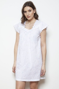 Adora Cotton Lawn Embroidered Cap Sleeve Nightdress