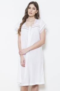 Beverley -  Cotton Voile Short Sleeve Nightdress