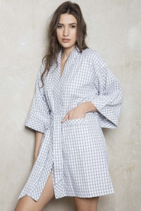 Mini Chess Check Cotton Lawn Kimono Wrap