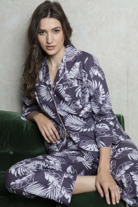 Plum Grand Palm Cotton Poplin PJ Set