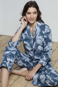 Teal Grand Palm Cotton Poplin PJ Set