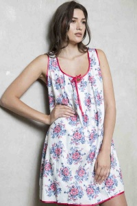 Retro Antique Rose 100% Cotton Chemise - Nightdress