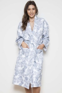 Pebble Palm QUILTED 100%  Cotton Interlock Shawl Collar Robe