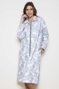 Pebble Palm QUILTED 100% Cotton Interlock Zip Robe