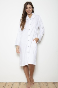 100% Cotton Superfine Shadow Stripe BUTTON Robe
