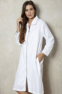 100% Cotton Superfine Shadow Stripe ZIP Robe
