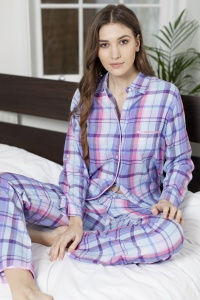 Lilac Rose Check Brushed Cotton Pyjamas